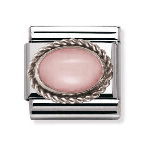 Composable Classic Link 'Oval Pink Opaline' SS Twisted Bezel