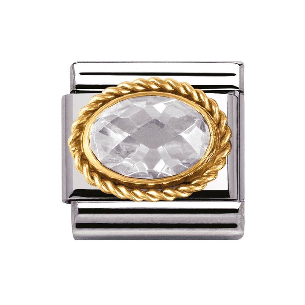 Composable Classic Link 'Faceted Oval CZ' 18ct Gold Twisted Bezel
