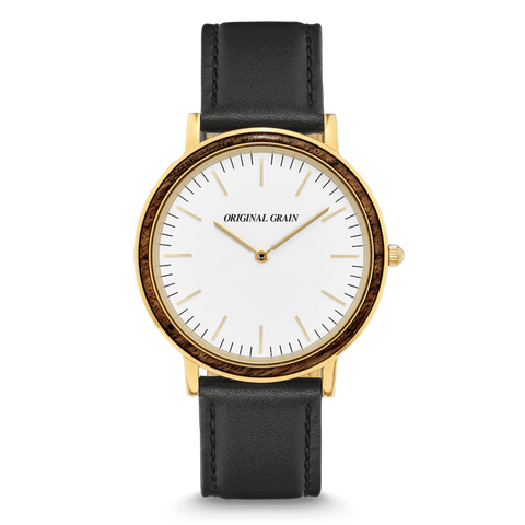 'Original Grain' Minimalist - Ebony/Gold Mens Watch