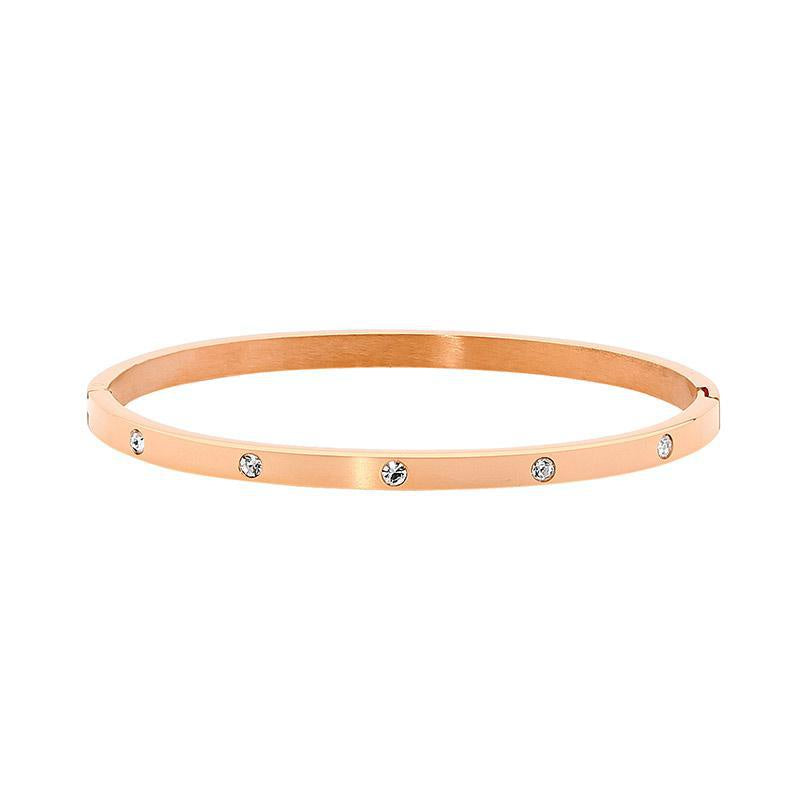 Ellani Stainless Steel Hinged CZ Bangle - Rose Gold Plate