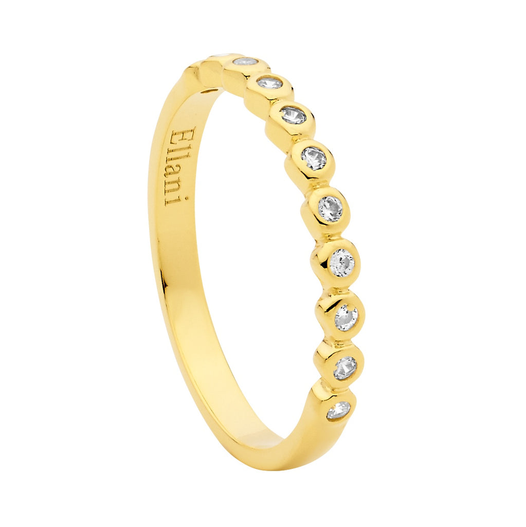 Ellani Sterling Silver Bezel Set CZ Ring - Gold Plate