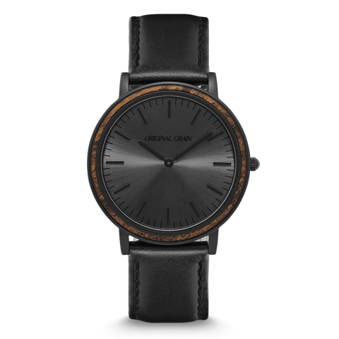 'Original Grain' Minimalist - Ebony/Matte Black Watch