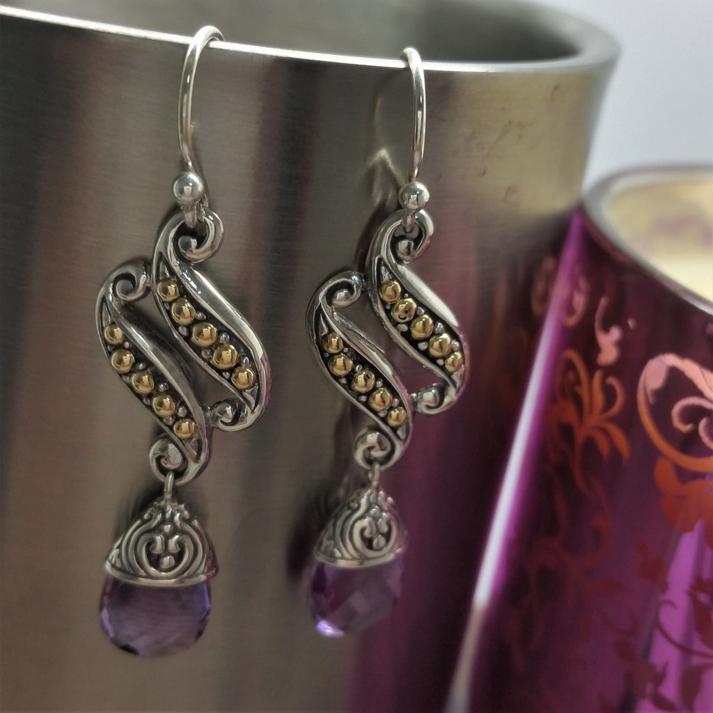 LOONA Sterling Silver with 18ct Detail Amethyst Drop Earrings
