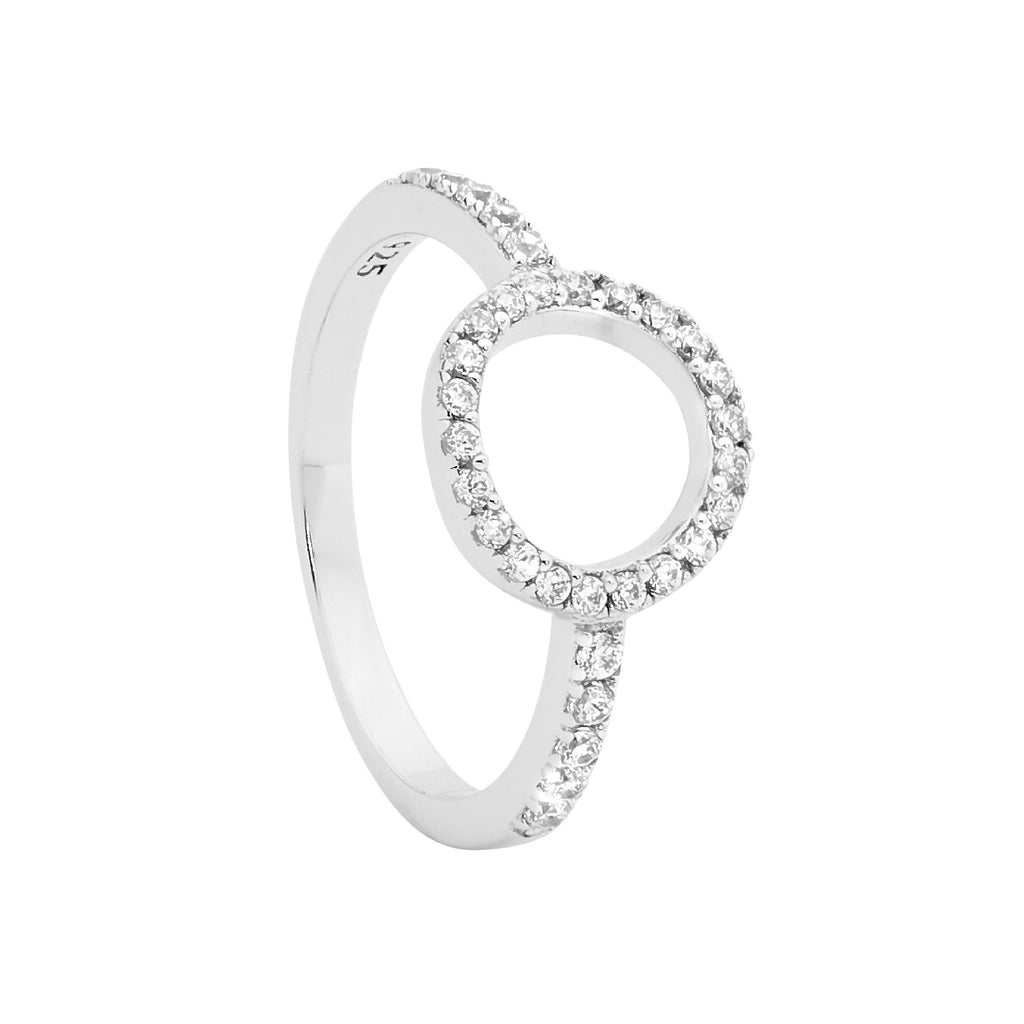 Ellani Open Circle CZ Ring