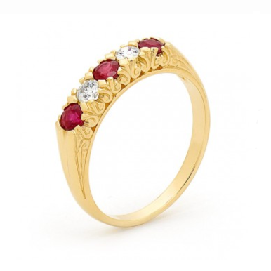 9ct Gold Ruby & Diamond Ring (5 Stones)