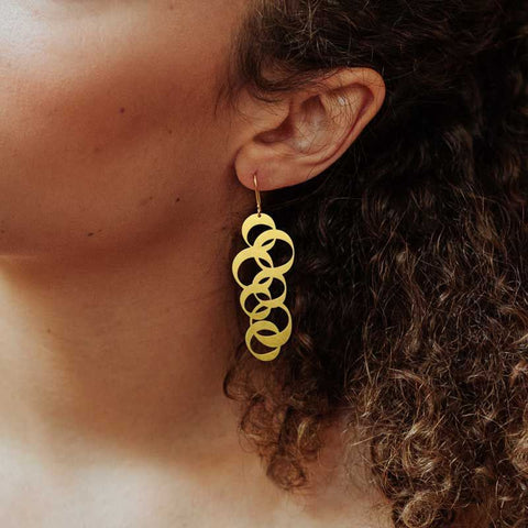 RAS 'Rings' Gold Plated Drop Earrings