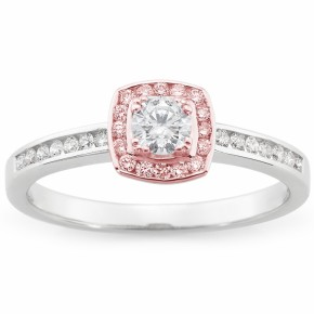 Mark McAskill 18ct W/R Gold Diamond/Pink Diamond Halo Ring - gsmshop.com.au