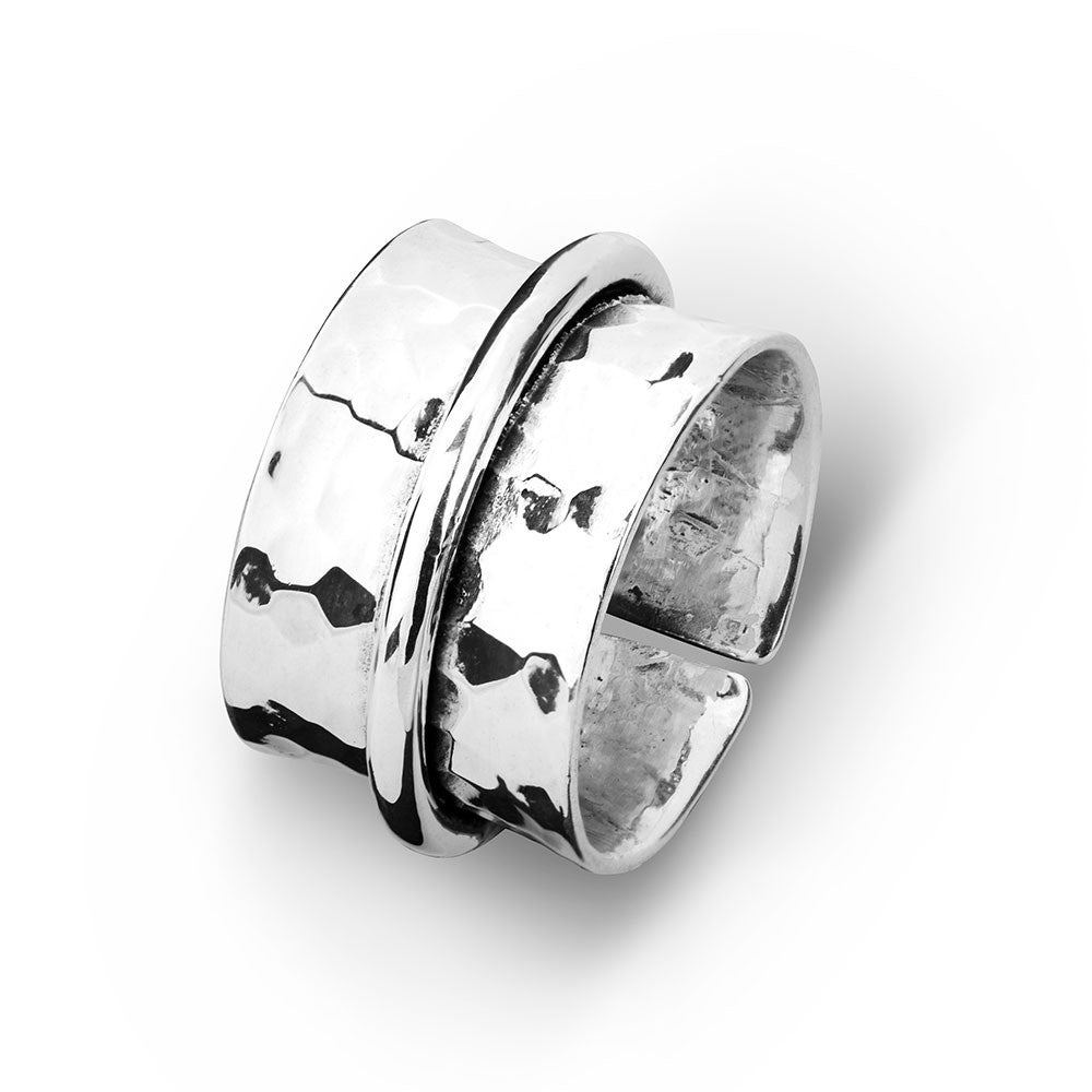 Sterling Silver Hammered Ring with Plain Overlay