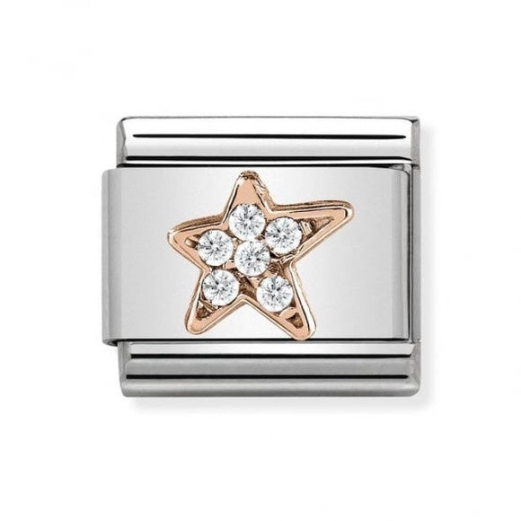 Composable Classic Link '9ct Rose Gold Asymmetric Star with CZ'