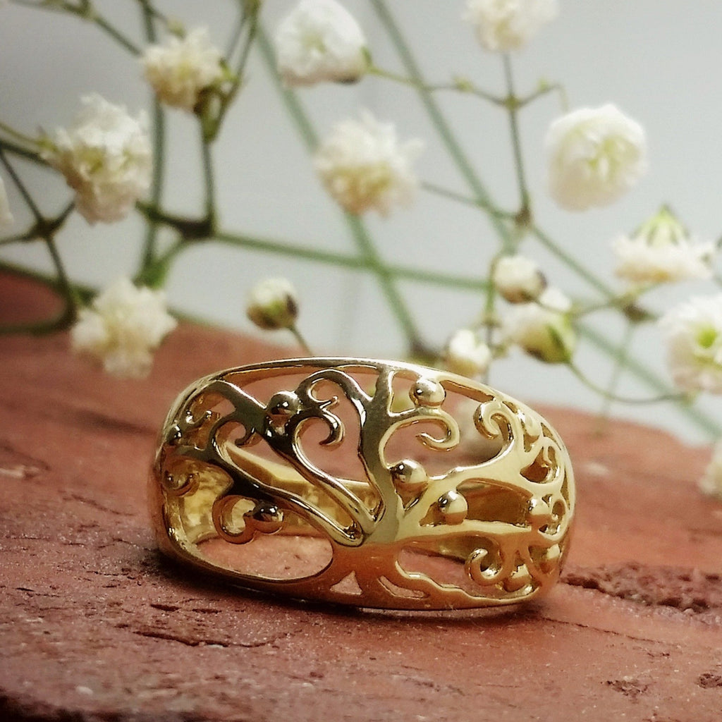 9ct YG Tree of Life Ring - gsmshop.com.au