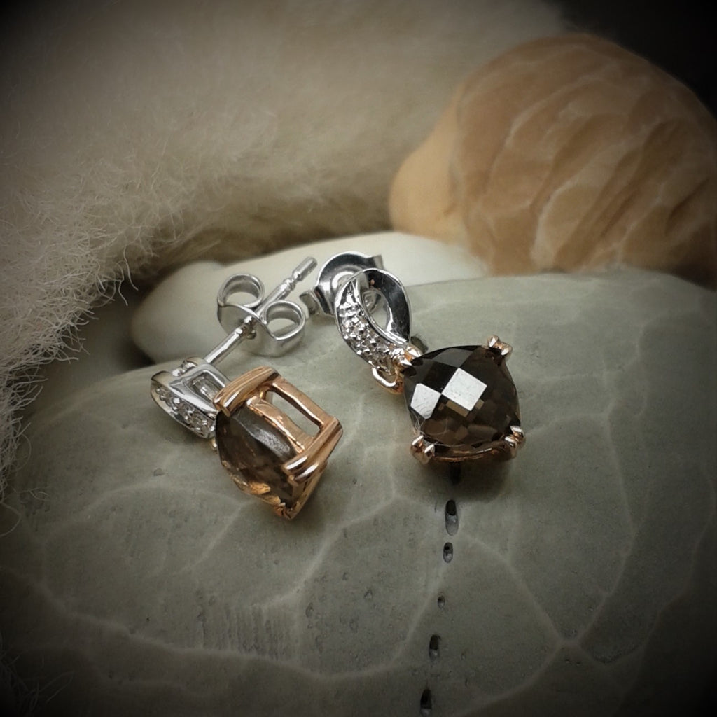 9ct White & Rose Gold Smokey Quartz & Diamond Drop Earrings - gsmshop.com.au