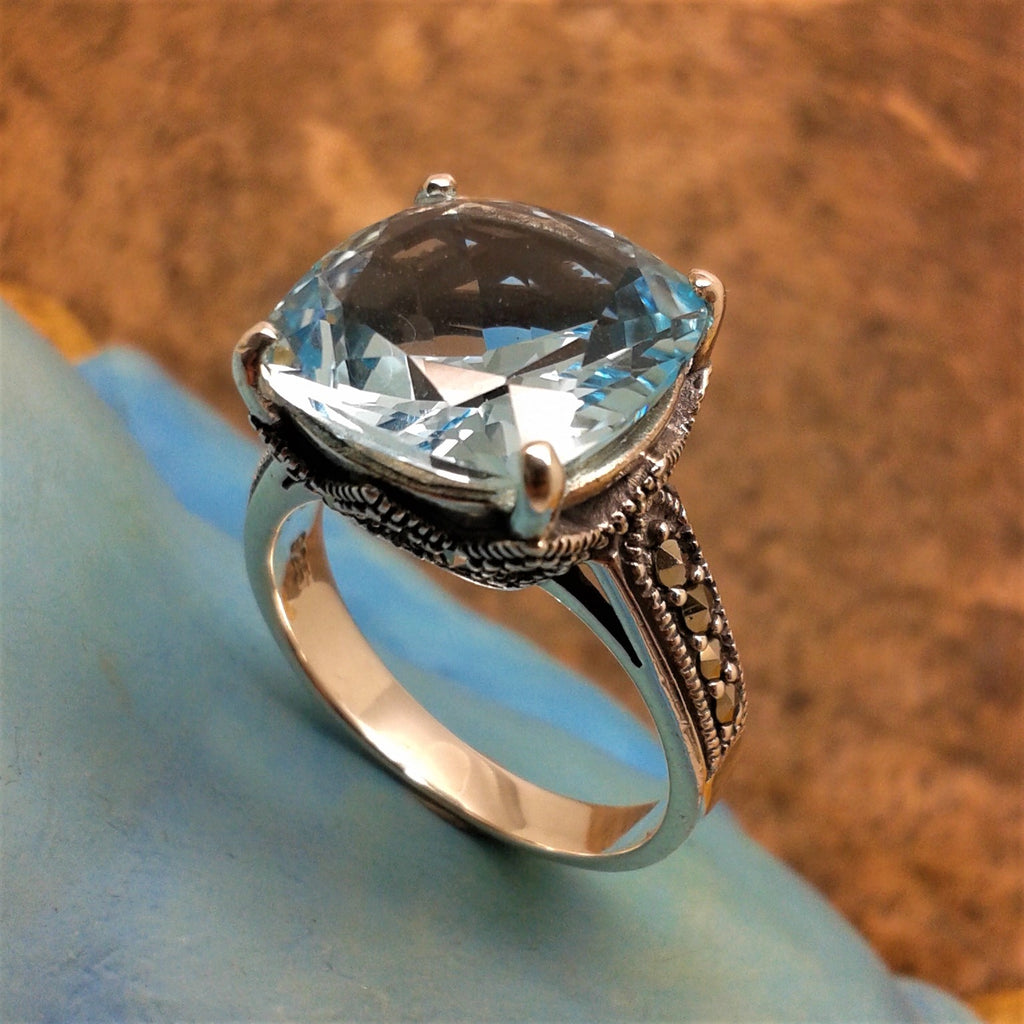 Sterling Silver Marcasite & Cushion Cut Blue Topaz Ring - gsmshop.com.au