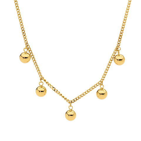 Ellani Stainless Steel Necklace with 5 Ball Charms - Gold