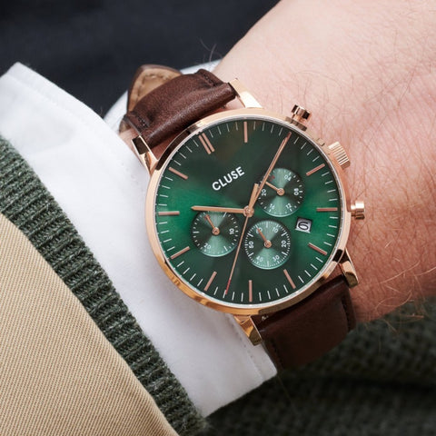 CLUSE Aravis Chronograph Mens Watch Rose Gold/Green - Brown Leather Band