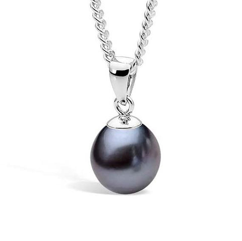 Ikecho Sterling Silver (9-9.5mm) Drop Black Pearl Pendant