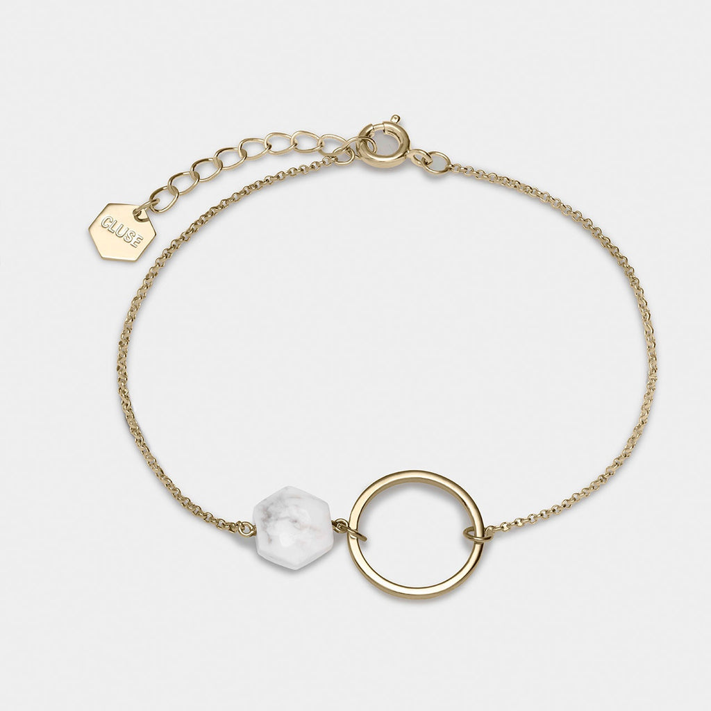 CLUSE Idylle Gold Open Circle Marble Hexagon Chain Bracelet - gsmshop.com.au