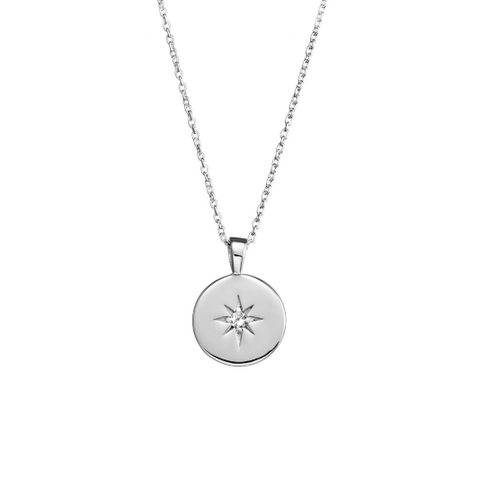 Sterling Silver Disc Necklace with CZ Star Centre