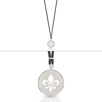 Nomination 'Firenze Lis Collection' Black Leather Necklace with Silver Pendant