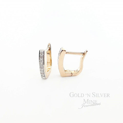 9ct Gold & Diamond Huggie Earrings