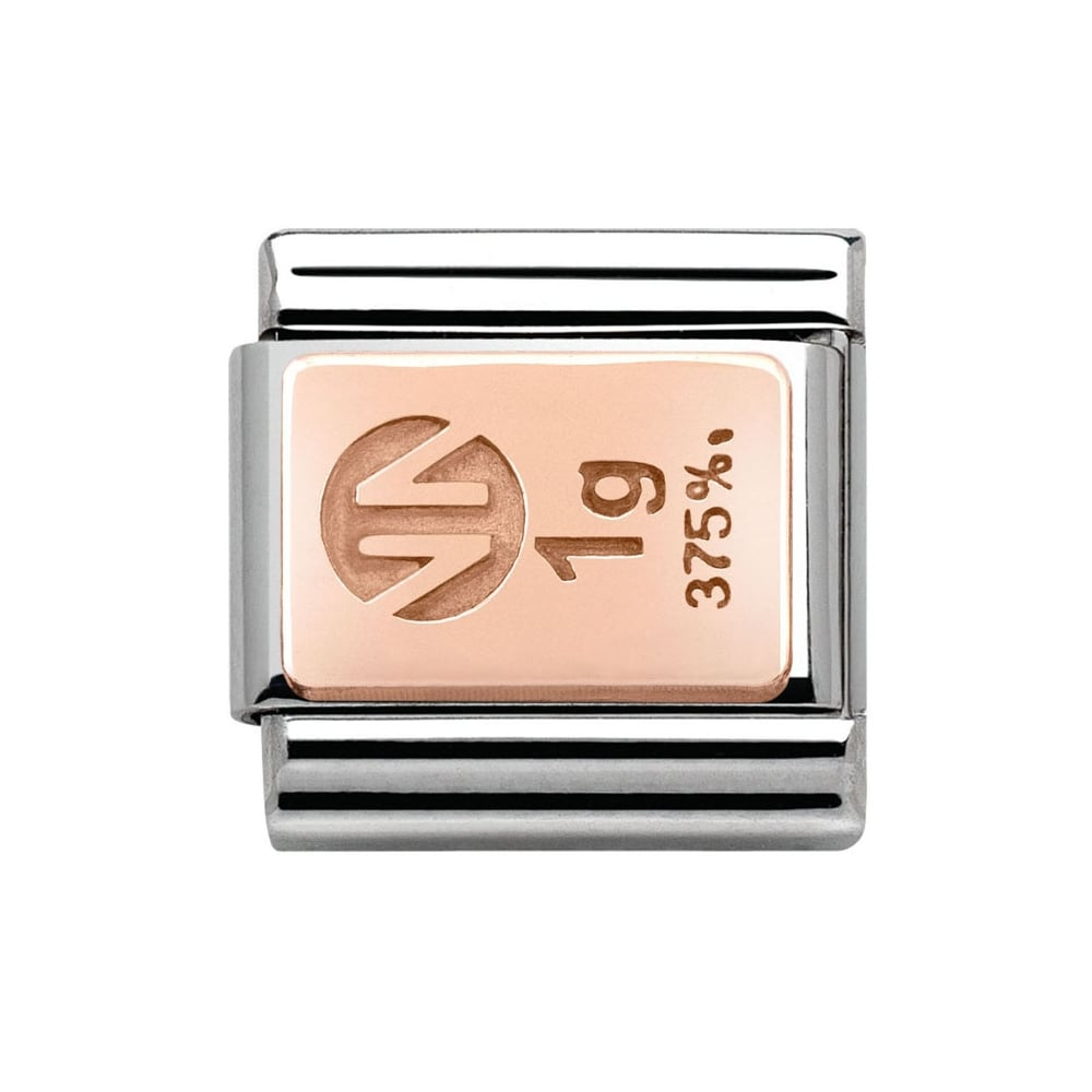 Composable Classic Link 'Stamped 1g 9ct Rose Gold Bar' - gsmshop.com.au