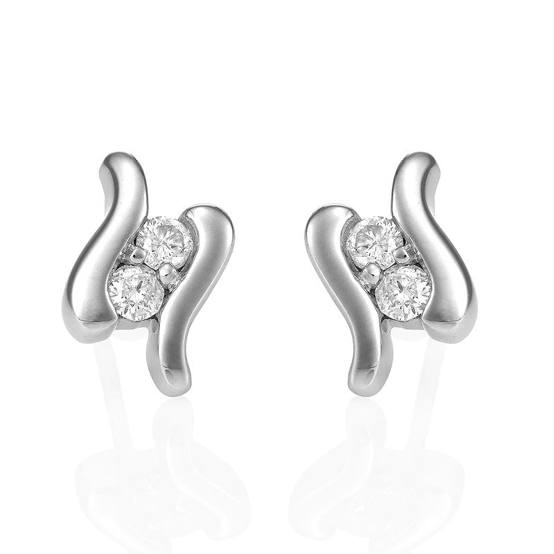 9ct White Gold & Diamonds 'Souls' Stud Earrings