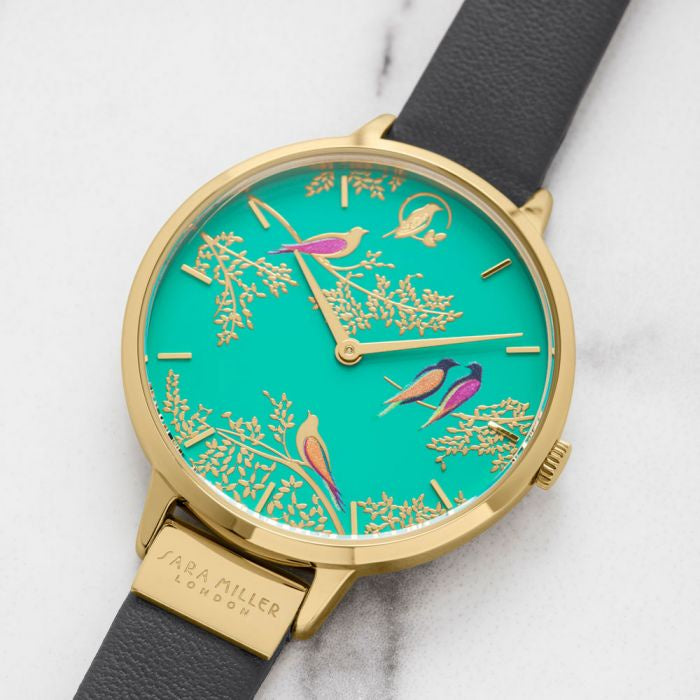 SARA MILLER 'Birds Watch' - Green/Gold/Mink