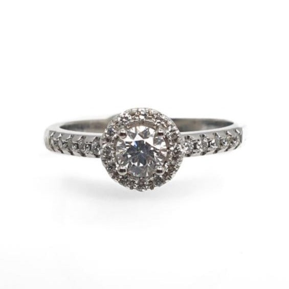 18ct White Gold Round Diamond Set Ring