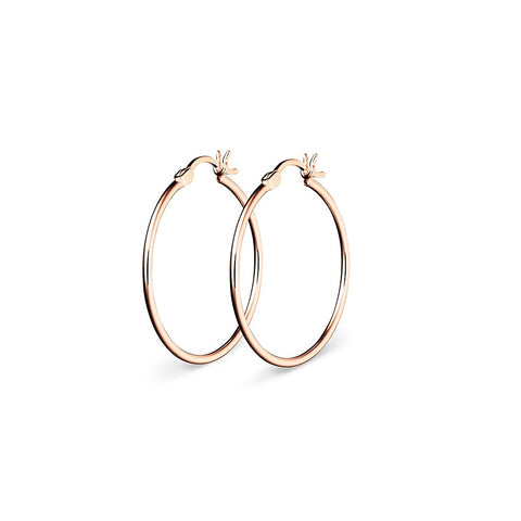 Sterling Silver 20mm Hoop Earrings - Rose Gold