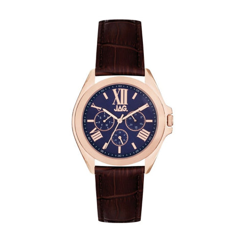 JAG Hugo II Mens Watch - Rose Gold/Navy/Brown Leather Band
