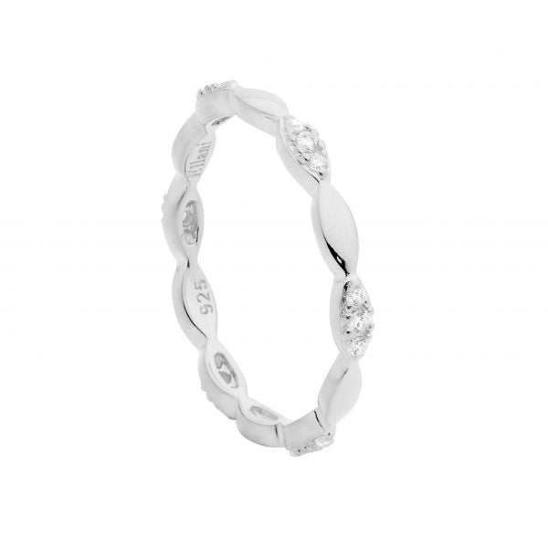Ellani Sterling Silver Tear Shape CZ Stacker Ring - gsmshop.com.au