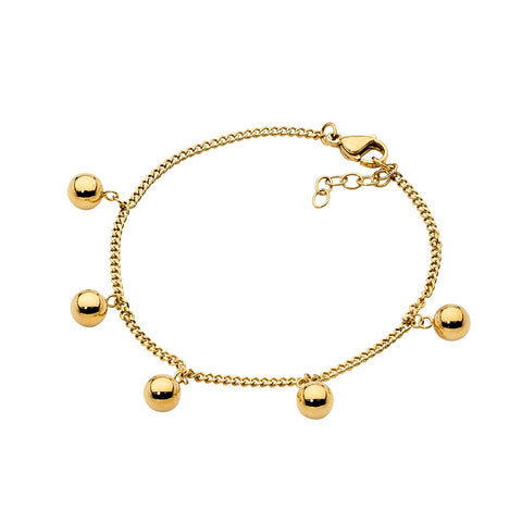 Ellani Stainless Steel Bracelet with 5 Ball Charms - Gold