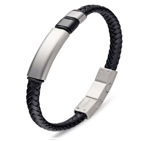 BLAZE Stainless Steel & Black Leather Bracelet with Silver Bar Detail