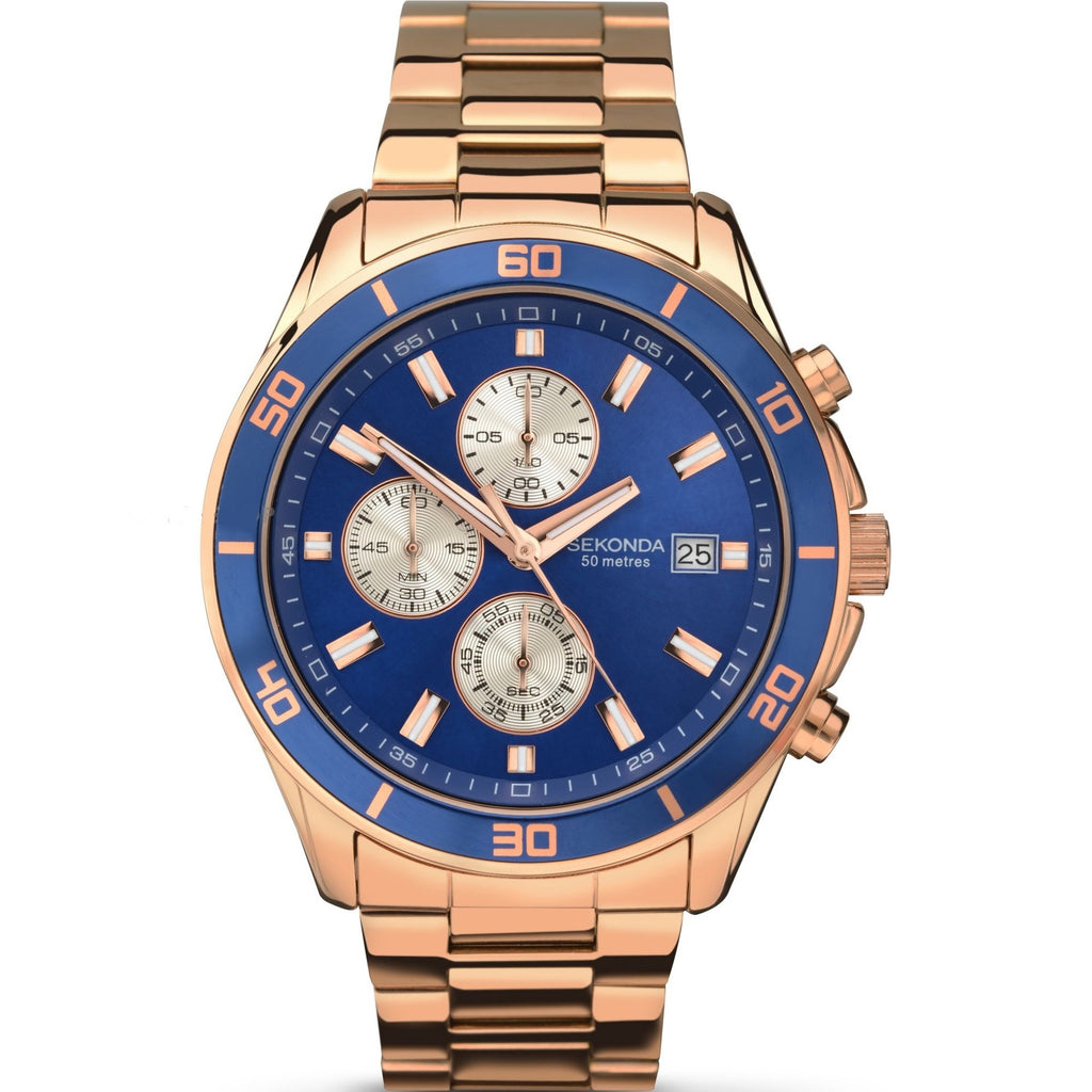 Sekonda Gents Chronograph Blue/Rose Gold Date Watch - gsmshop.com.au