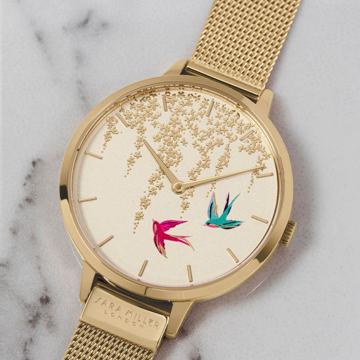 SARA MILLER 'Swallow Watch' - Gold Mesh