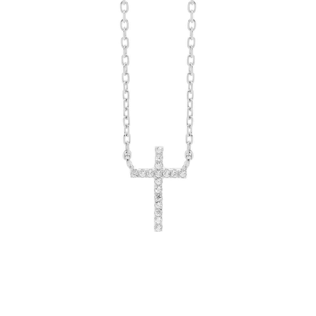 Ellani Sterling Silver Fixed CZ Cross Necklace - gsmshop.com.au