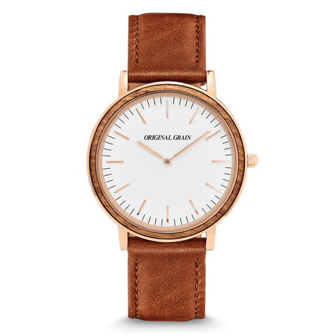 'Original Grain' Minimalist - Zebrawood/Rose Gold Watch