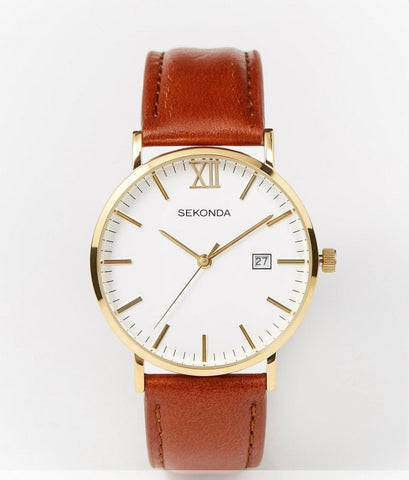 Sekonda Gold Detail Brown Leather Strap Gents Watch