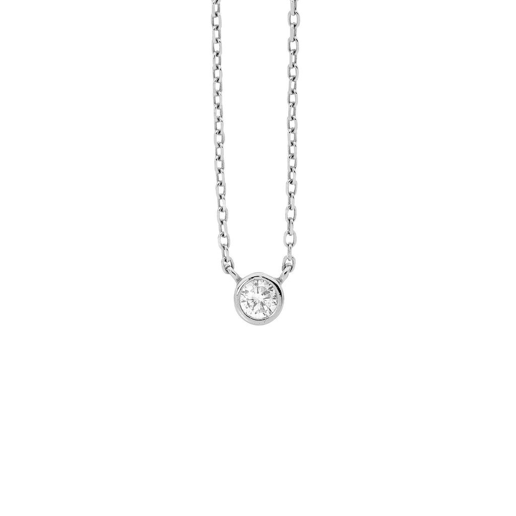 Ellani Sterling Silver CZ Fixed Solitaire Necklace - gsmshop.com.au