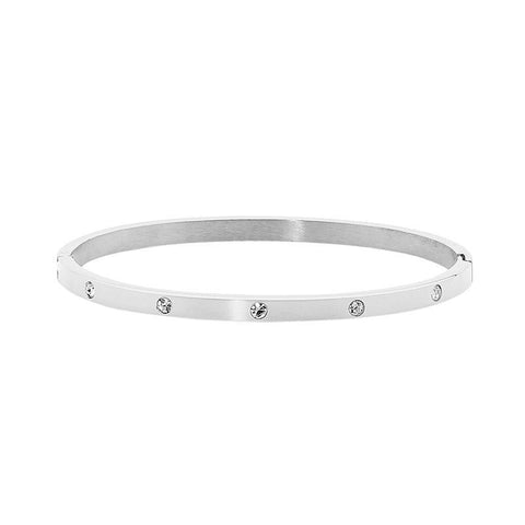 Ellani Stainless Steel Hinged CZ Bangle