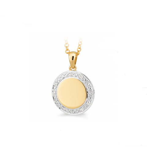 9ct Gold & Diamond Disc Pendant