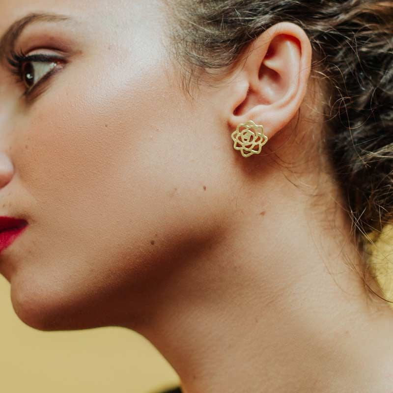 RAS 'Rosa' Gold Plated Stud Earrings