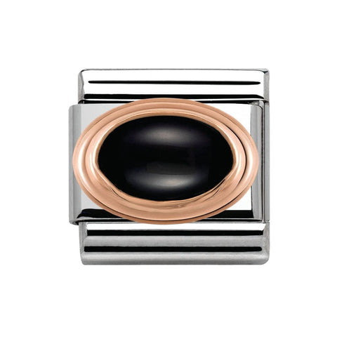 Composable Classic Link 9ct Rose Gold & Black Agate