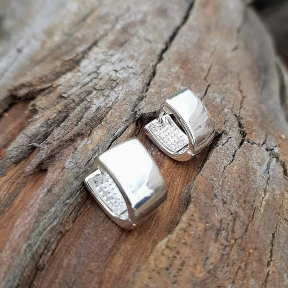 Sterling Silver Oval Huggie Earrings