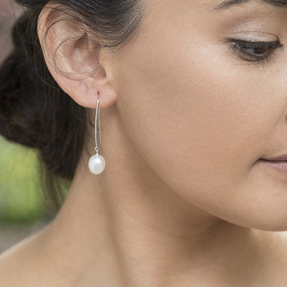 Sterling Silver & Freshwater Pearl Long Hook Earrings - gsmshop.com.au