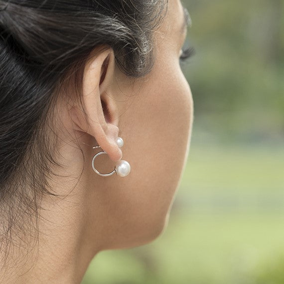 Ikecho Sterling Silver Button Pearl Earrings with Under Ear Fitting - gsmshop.com.au
