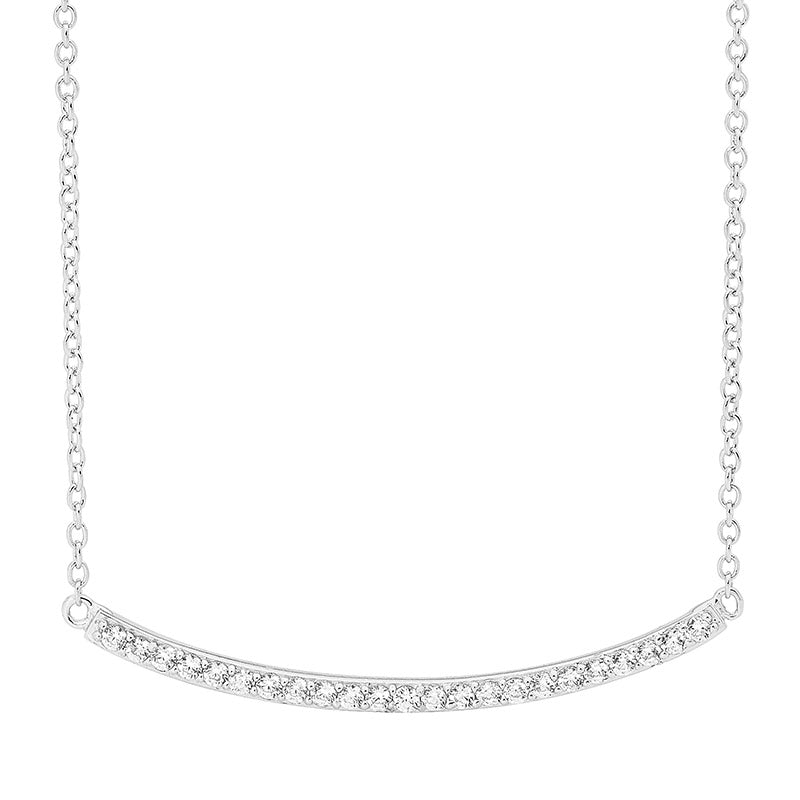 Ellani Sterling Silver CZ Curved Bar Necklace