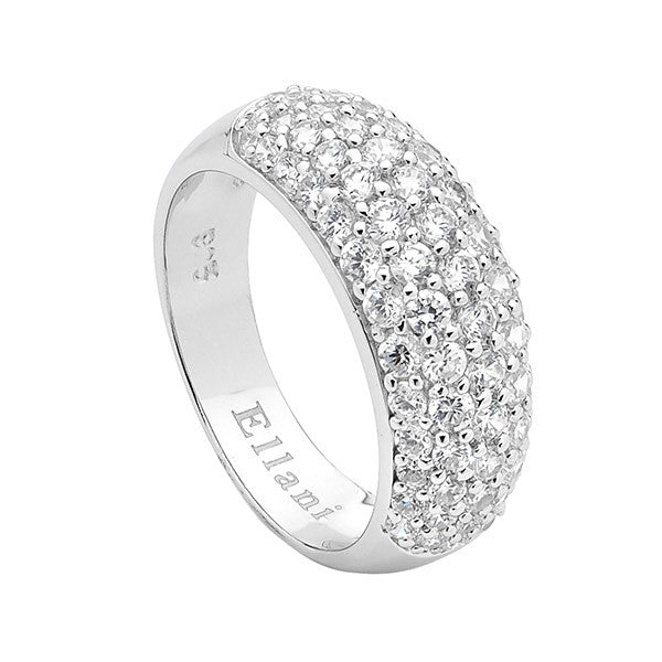 Ellani Sterling Silver Pave Set CZ Domed Ring - gsmshop.com.au