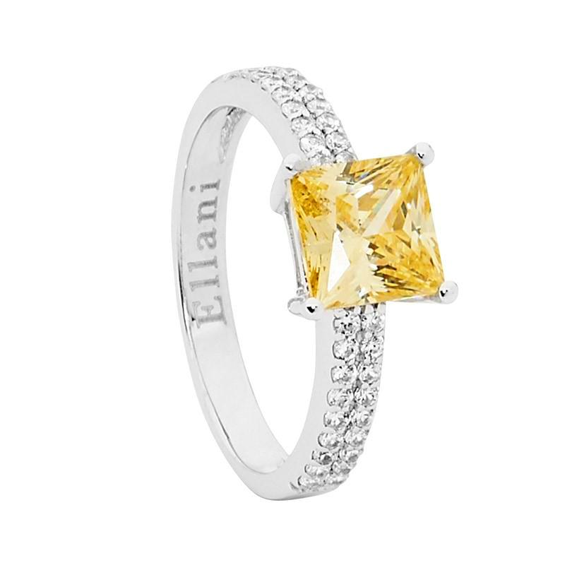 Ellani Sterling Silver Princess Cut Citrine CZ Ring - gsmshop.com.au