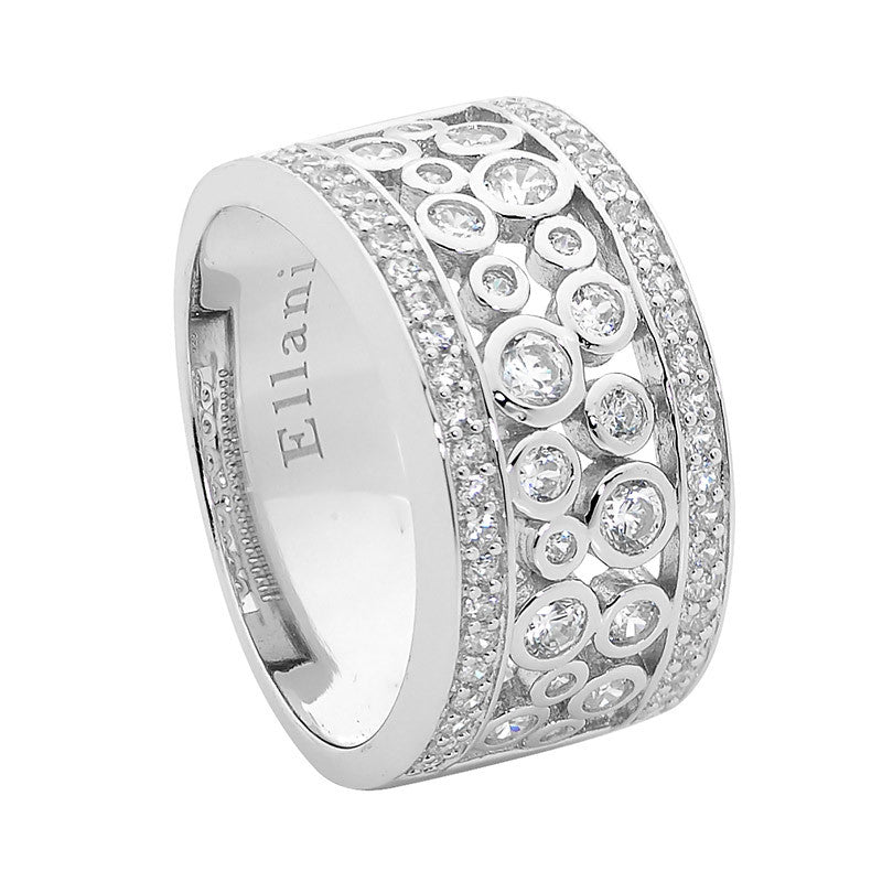 Ellani Sterling Silver Wide Multi Bezel Set CZ Ring - gsmshop.com.au