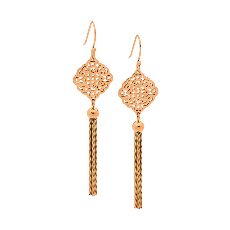 S/Steel Filigree Earrings with Drop Tassel - gsmshop.com.au